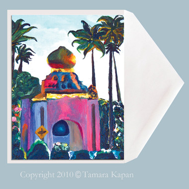 Self Realization Center, Encinitas, California surf art greeting card by Tamara Kapan