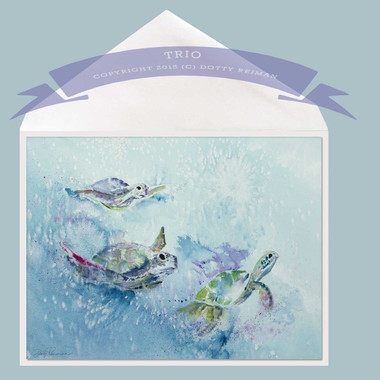 Trio Sea Turtle Greeting Card by Dotty Reiman
