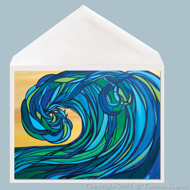 Rogue Wave abstract surf art greeting card by Tamara Kapan