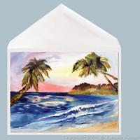 Tropical Sunset greeting card by Dotty Reiman.  Greeting card measures 5 x 7 inches.