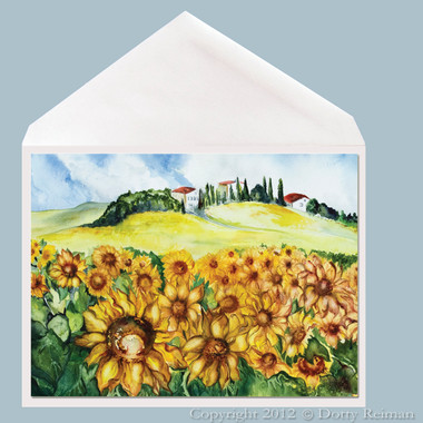 Sunflowers watercolor art greeting card by Dotty Reiman