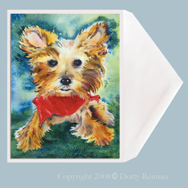 Terrier dog greeting card by Dotty Reiman.  Greeting card measures 5 x 7 inches.