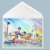 Oceanside Harbor, California greeting card by Dotty Reiman