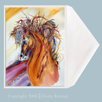 Rein Dance horse greeting card by Dotty Reiman.  Greeting Card size 5 x 7 inches.