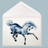 Blue Prancer horse greeting card by Dotty Reiman.  Greeting card measures 5 x 7 inches.