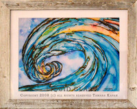 Liquid Glass wave in White Barn Wood Frame by Tamara Kapan