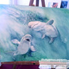 Baby beluga whales painting by Dotty Reiman