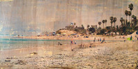 beach landscape by Tamara Kapan titled Father's Day at Cardiff