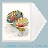 Double Scallop seashell greeting card by Dotty Reiman.  Greeting Card Measures 5x7 inches.