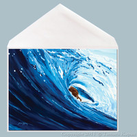 Blue Barrel Surfer Greeting Card by Tamara Kapan.  Greeting Card Measures 5x7 Inches.