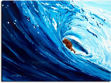 Blue Barrel Surfer Painting by Tamara Kapan