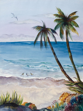 Coastal art watercolor painting by Dotty Reiman titled Weekend Getaway