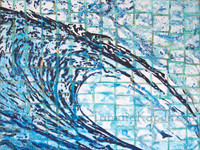 "Original Abstract Wave art by Tamara Kapan.  Large painting measures 48"" x 36"" x 1.5"" Title is Natural Instincts"