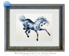 8 x 10 inch horse art titled Blue Prancer by Dotty Reiman in an 11 x 14 inch frame.