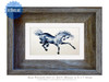 4 x 6 inch watercolor horse print titled Blue Prancer by Dotty Reiman in a 5 x 7 inch frame.