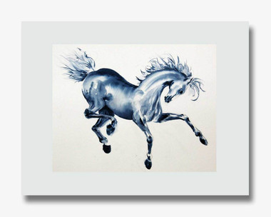 "8 x 10 inch fine art horse print titled ""Blue Prancer"" by Dotty Reiman matted to fit an 11 x 14 inch frame"