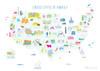 USA States Map Art Print (Various Sizes)