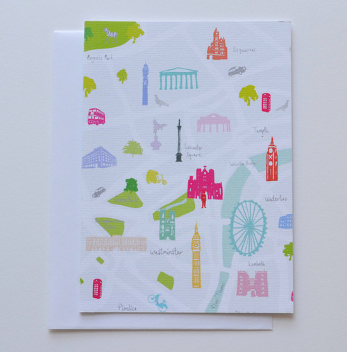 "Map of London Greeting 5x7"" Card"