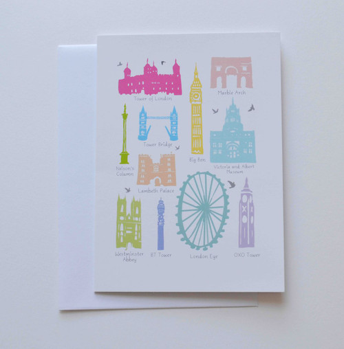 """Iconic Buildings of London 5x7"""" Greeting Card"""