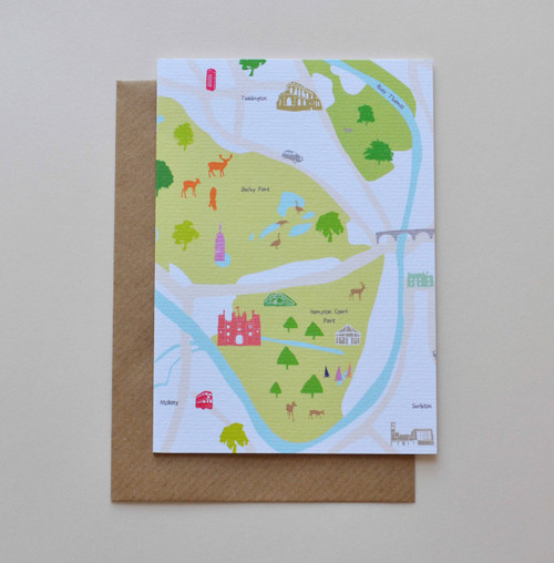 Hampton Court and Surrounding Areas A6 Greeting Card