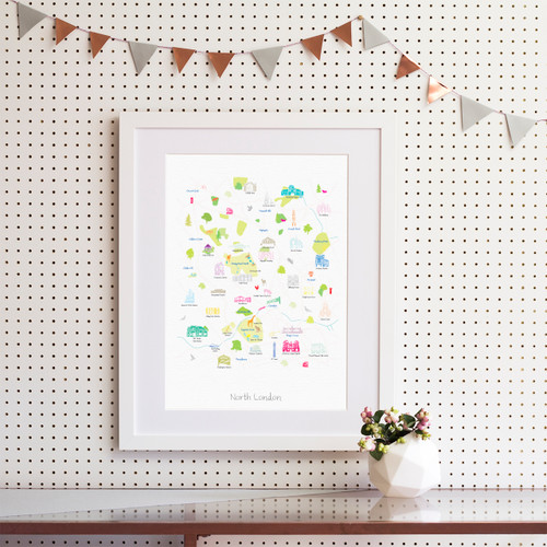 Map of North London Art Print (Various Sizes)