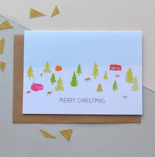 'Winter Cabins' A6 Christmas Card