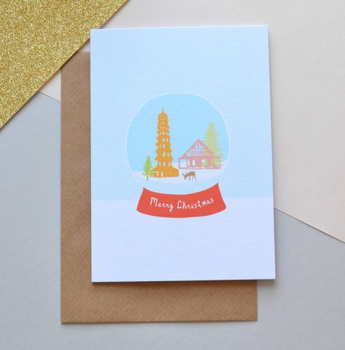 'Kew Gardens Snow Globe' A6 Christmas Card