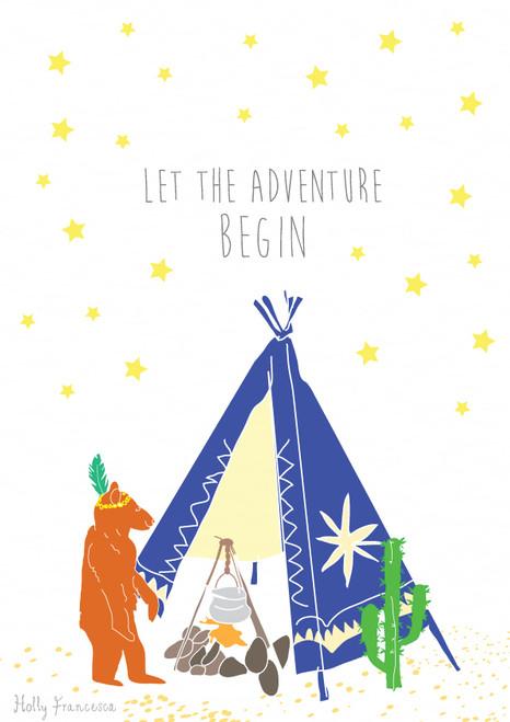 Tipi Bear Adventure Art Print (Various Sizes)