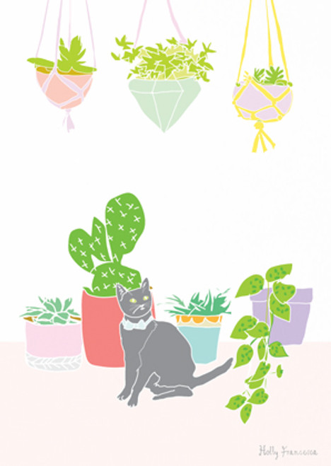 Cat & Cactus Art Print (Various Sizes)