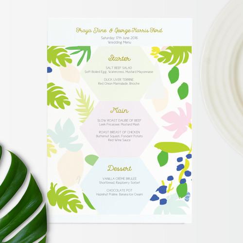 Tropical Wedding Menu cards