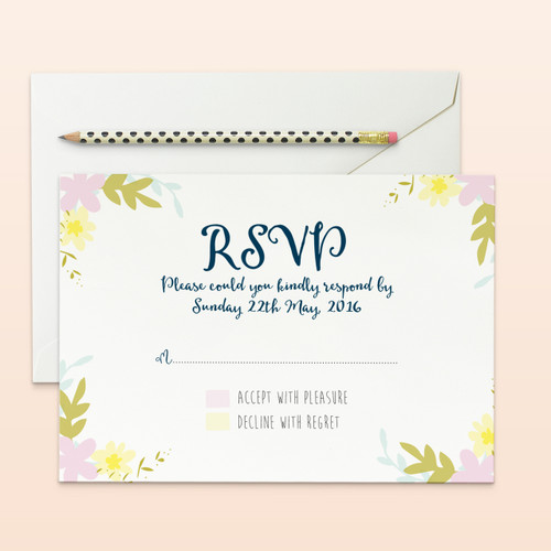 wreath floral wedding rsvp cards front side