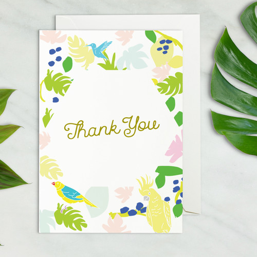 tropical beach wedding thank you card