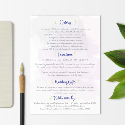 floral inspired useful information cards wedding