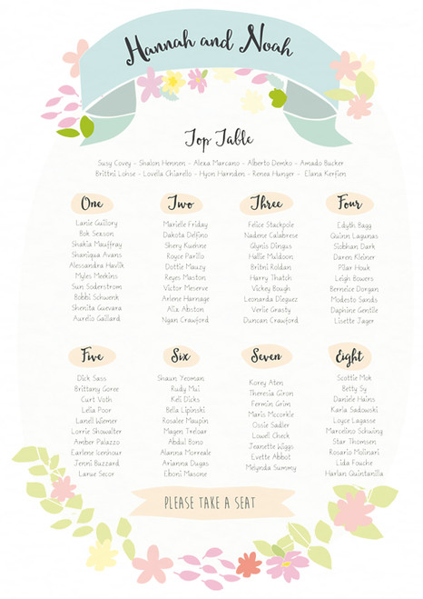 wedding day table seating plan flowers wreath