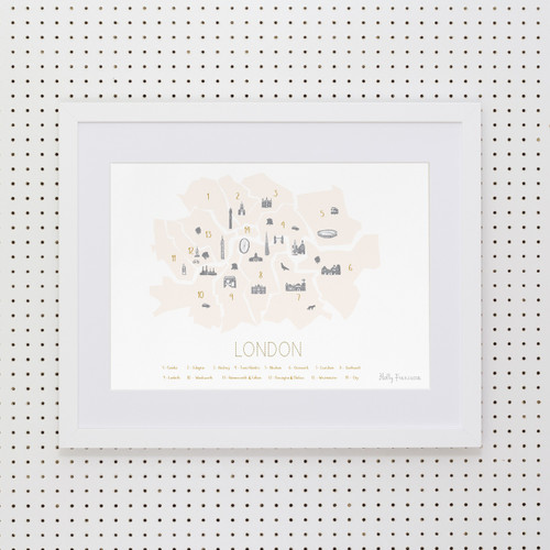 London Boroughs 'Minimalist' Art Print (Peach Blush)