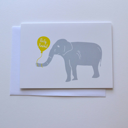 "Party Elephant 5x7"" Birthday Card"