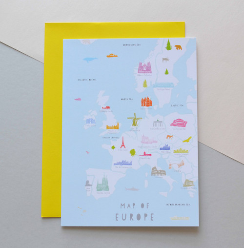"Map of Europe 5x7"" Greeting Card"