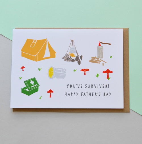"You've survived! Happy Father's Day 5x7"" Greeting Card"
