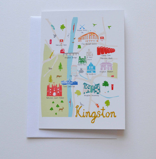 "Map of Kingston 5x7"" Greeting Card"