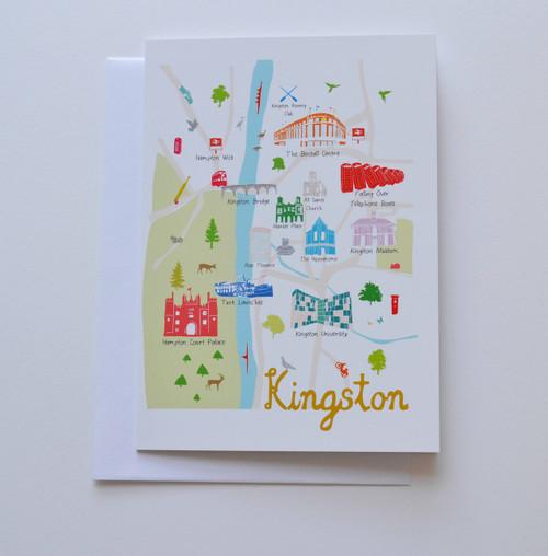 "Map of Kingston 5x7"" Greeting Card"
