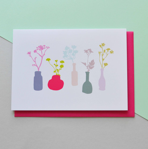 "Vases Still Life 5x7"" Greeting Card"