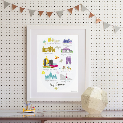 Landmarks of East Sussex Art Print (Various Sizes)