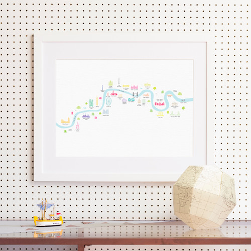 River Thames London from Thames Barrier to Chelsea Art Print (Various Sizes)
