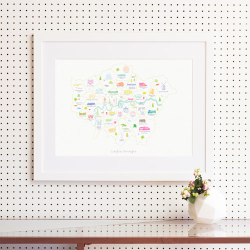 Map of the London Boroughs Art Print (Various Sizes)