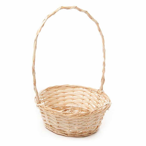 Willow Basket with Handle Round Natural