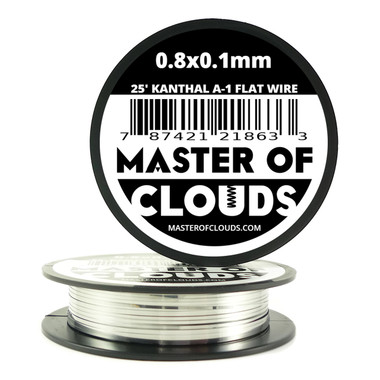 25 ft - 0.8 mm x 0.1 mm Kanthal A1 Flat Ribbon Wire - Master of Clouds