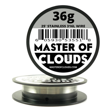 Stainless Steel 316L - 25 ft 36 Gauge Wire - Master of Clouds