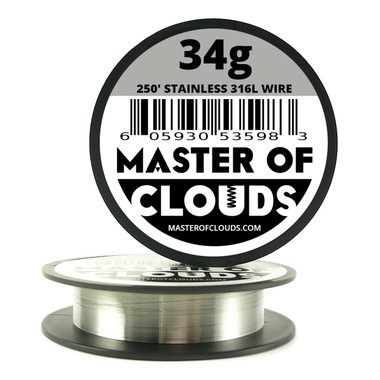 Stainless Steel 316L - 250 ft 34 Gauge Wire - Master of Clouds