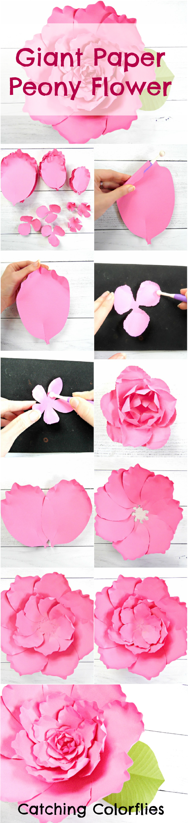 Giant paper peony flower tutorial. DIY paper flowers. Printable peony flower templates