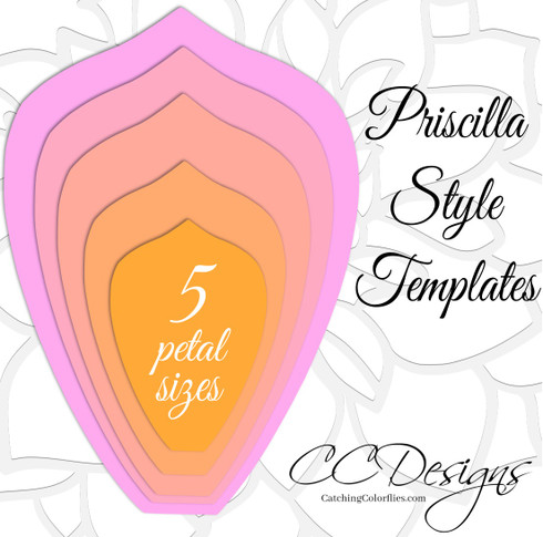 Priscilla style hard copy paper flower templates